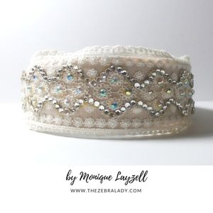 Accessories - Off White Lace Ab Crystal headband